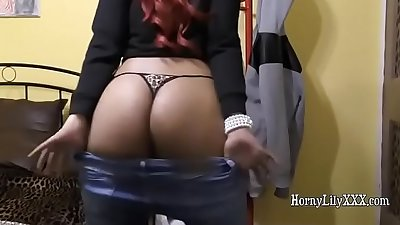 Hornylily shaking her huge black booty in her thongs